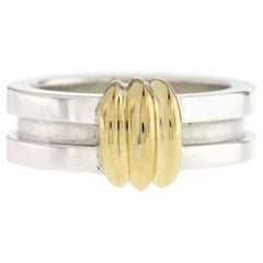 Tiffany & Co. 925 Sterling Silver 18 Karat Gold Atlas Groove Band Ring