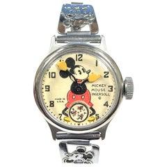 1930s Ingersoll Mickey Mouse Mechanical Wind Wristwatch