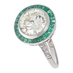 Art Deco Revival 2.50 Carat Diamond Emerald Platinum Engagement Ring