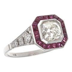 Art Deco Revival 1.25 Carat Diamond Ruby Platinum Engagement Ring