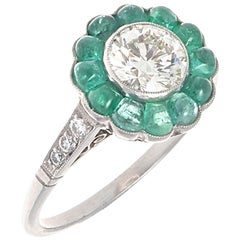 Art Deco Revival Diamond Emerald Platinum Engagement Ring
