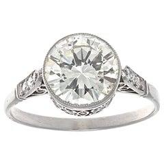 Art Deco Revival 2.01 Carat Old European Cut Diamond Platinum Engagement Ring