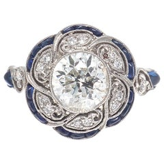 Art Deco Revival 1.32 Carat Diamond Sapphire Platinum Ring