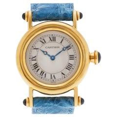 Cartier Diablo 1440 18 Karat Ivory Dial Quartz Watch, 'Certified Authentic'
