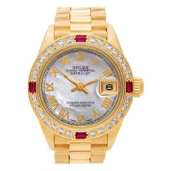 Rolex Datejust 6917 18k custom mother of pearl dial and ruby & diamond bezel