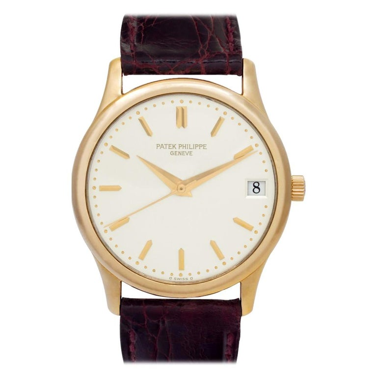 686de1746 Patek Philippe Calatrava 3998 18 Karat Silver Dial Automatic Watch For Sale