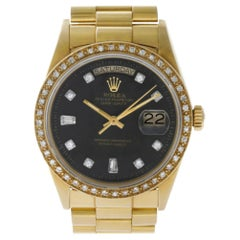 Rolex Day-Date 18038 18 Karat Black Dial, Diamond Bezel Automatic Watch