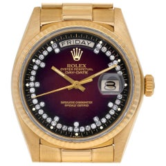 Rolex Day-Date 18038 18 Karat Burgundy Dial Automatic Watch, Certified Authentic
