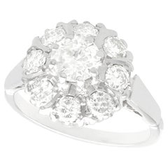 1960s 1.45 Carat Diamond and White Gold Cluster Ring