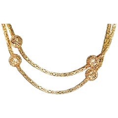 Elegant, Long and Heavy 14 Karat Gold Necklace