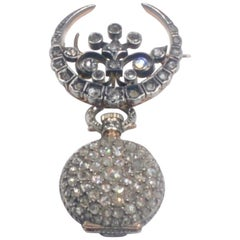 19th Century French Diamond Swiss Movement Watch and Brooch Pin