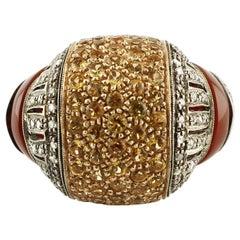 Diamanten, 3,08 Karat Gelbe Steine Karneol Rotgold Silber Cluster Retro Ring