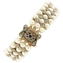 Diamanten, Blaue Saphire, Perlen, Rotgold Silber Perlen Retro Armband