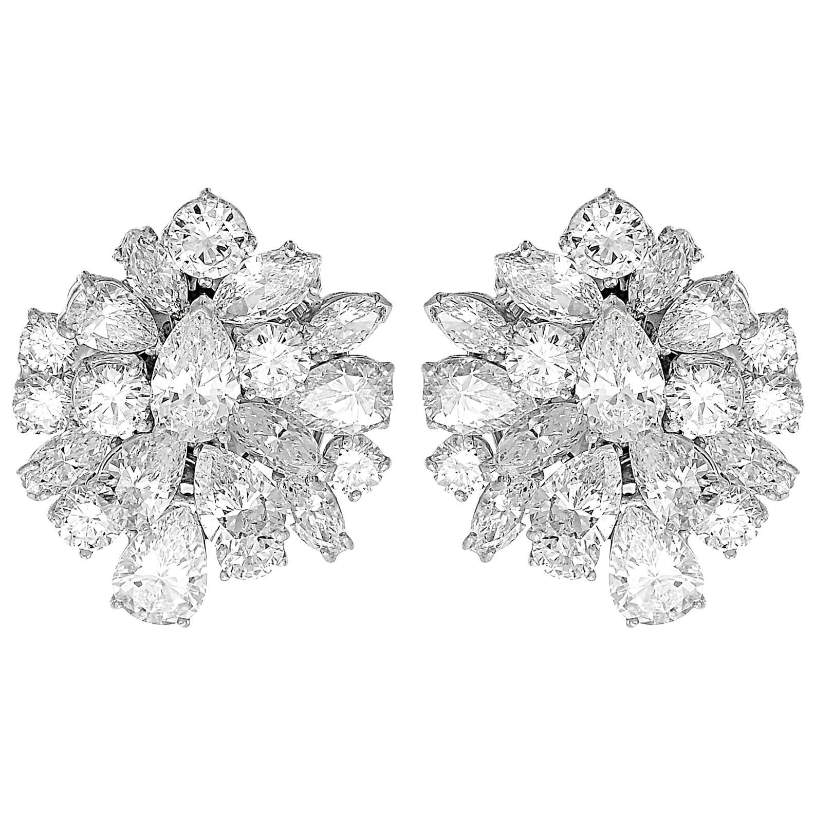 Certified Diamonds D-F Clip-On Statement Earrings/Pendant/Brooch, Retro, Vintage