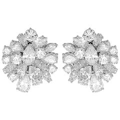1980 Retro Certified Diamonds D-F 19ct Clip-On Statement Earrings/Pendant/Brooch