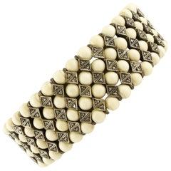 12.70 G Light Yellow Hard Stone Spheres, Diamonds Rose Gold Silver Bracelet