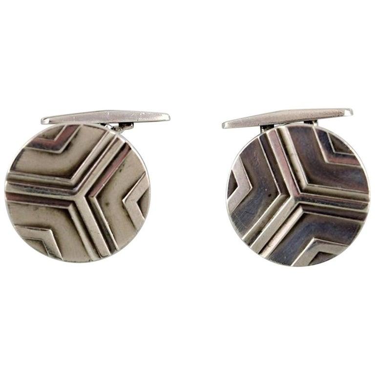 Pair of Georg Jensen Art Deco Cufflinks in Sterling Silver, 1933-1944 For Sale