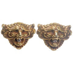 Art Nouveau 14 Karat Gold and Diamond Grotesque Mask Cuff Links