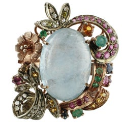 Diamonds, Rubies, Emeralds, Sapphires, Milk Aquamarine Gold Silver Fashion Ring