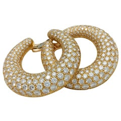 Cartier Earrings, Yellow Gold Set with Diamonds