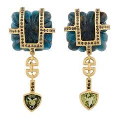18ct Yellow Gold, Kyanite, Black Diamond and Green Tourmaline Drop Earrings