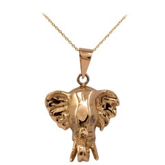 Diamond Elephant Pendant 9 Karat Solid Gold