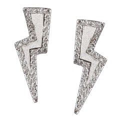 Sterling Silver and Diamond Lightning Bolt Earrings