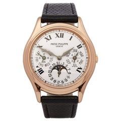 Patek Philipe Perpetual Calendar Porcelain Dial 18K Rose Gold 3940 Wristwatch