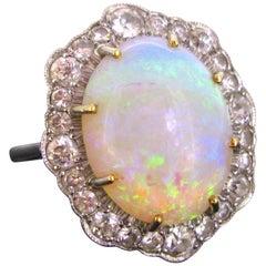 Retro Opal Diamonds Platinum Cocktail Daisy Cluster Ring