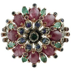 15.29 ct Rubies, Emeralds, Blue Sapphires, Diamonds Rose Gold Silver Flower Ring