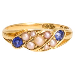 Antique Edwardian Pearl Sapphire Twist Ring
