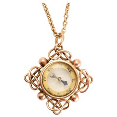 Art Deco Rose Gold Compass Pendant Necklace