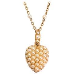 Antique Victorian Pavé Pearl Heart Pendant Necklace