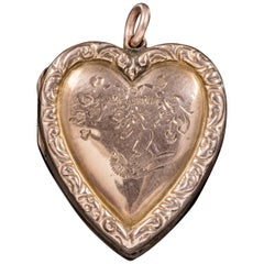 Antique Victorian Swallow Heart Locket 9 Carat Back and Front, circa 1900