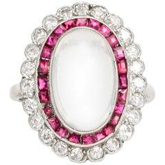 Art Deco Moonstone Ruby Diamond Halo Cocktail Ring