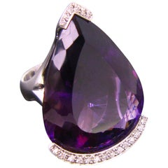 Important Amethyst Diamonds White Gold Design Fashion Cocktail Ring