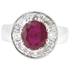 Ruby Brilliant Cut Diamonds White Gold Cluster Ring