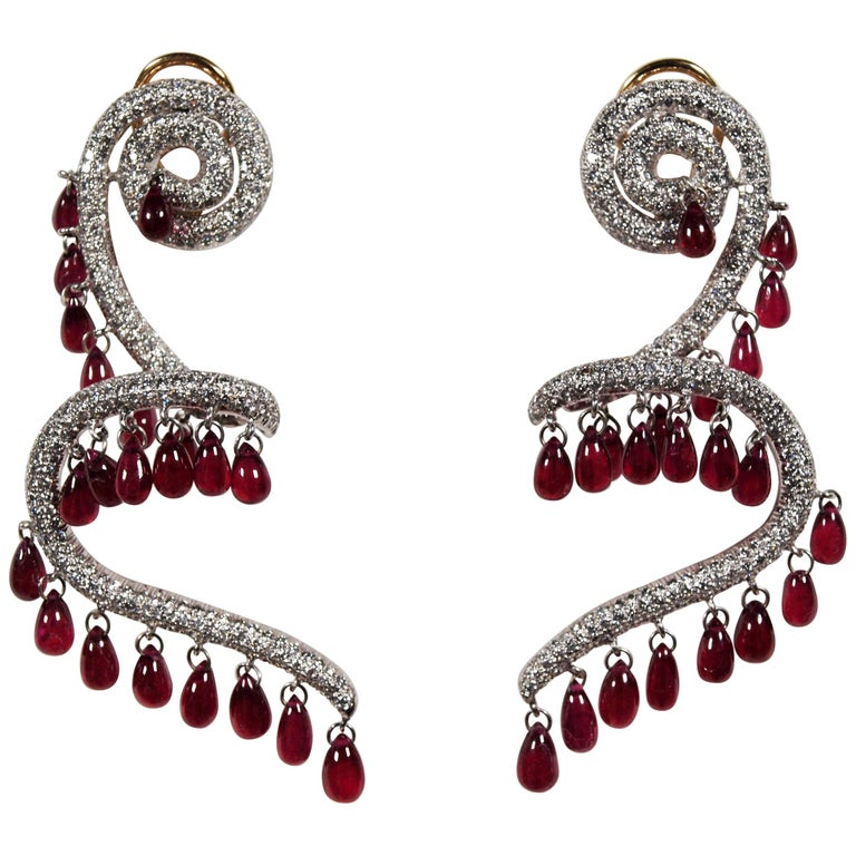 Rhodium Plated 18 Karat Yellow Gold Ruby and Diamond Spiral Earrings For Sale