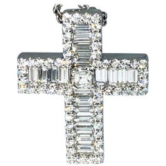 Berca 1.65 Carat White Diamond Baguette Cut White Gold Cross Pendant Necklace