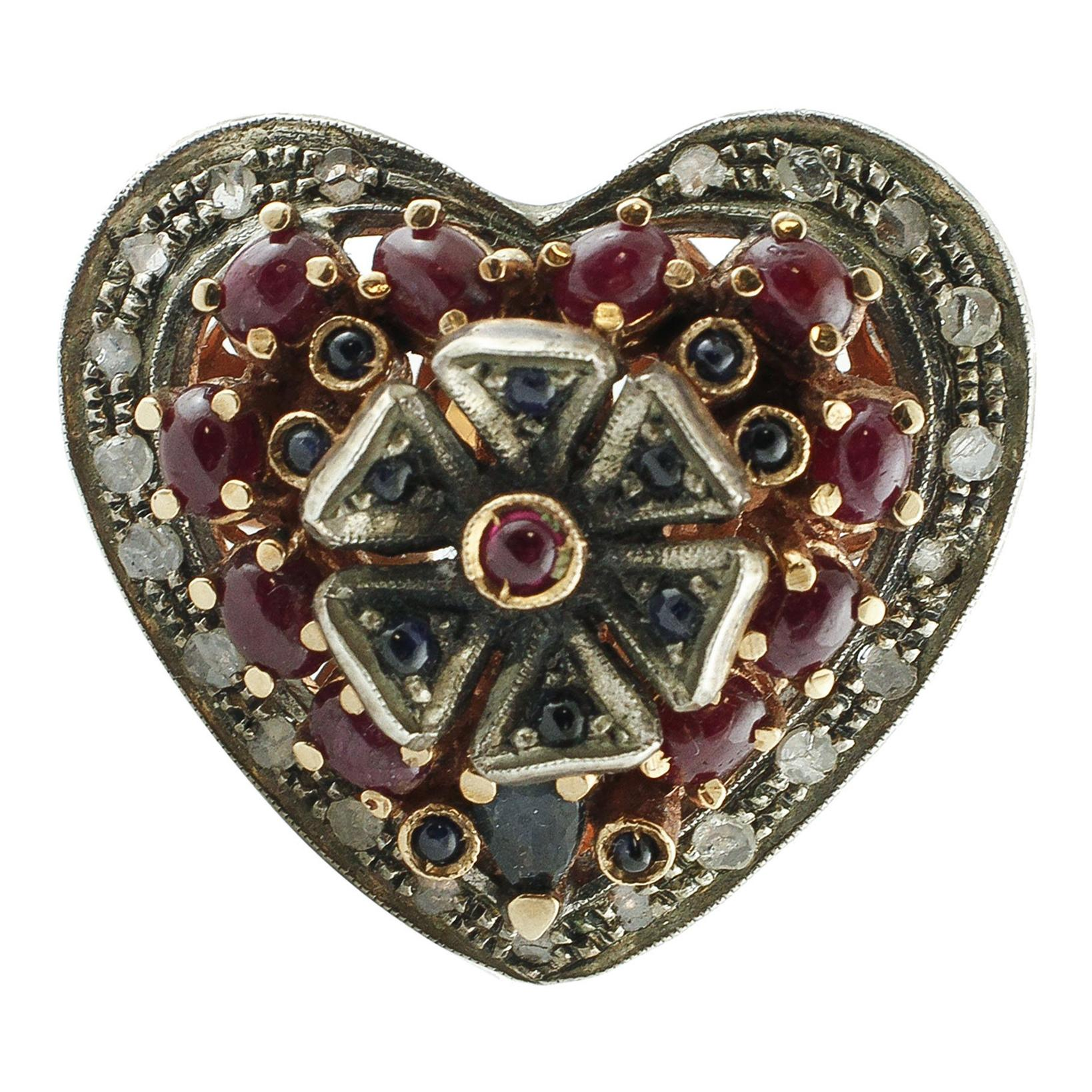 Diamonds, 3.45 Carat Rubies and Blue Sapphires Heart Shape Rose Gold Silver Ring