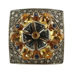 0.54 Diamonds, 4.77 ct Blue and Yellow Sapphires Rose Gold Silver Fashion Ring