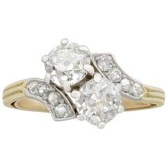 Antique Victorian 2.36 Carat Diamond and Yellow Gold Twist Ring