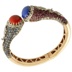 Diamonds, Rubies, Sapphires, Red Coral, Lapis Rose Gold Silver Cuff Bracelet