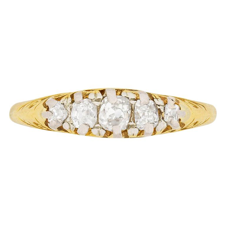 Victorian 0.45 Carat Old Cut Diamond Five-Stone Ring, circa 1880s