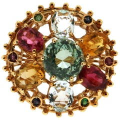 Tourmaline,14 Karat Yellow Gold, Aquamarine, Sapphires, Rubies, Cocktail Ring