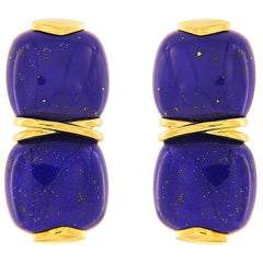 Valentin Magro Double Lapis Cushion Cabochon Earrings