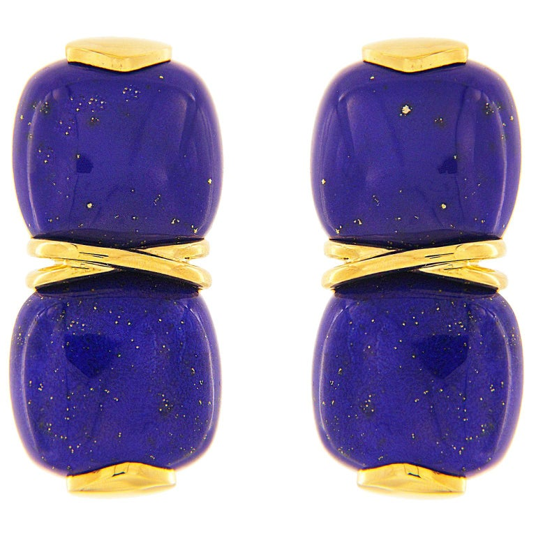 Valentin Magro Double Lapis Cushion Cabochon Earrings For Sale