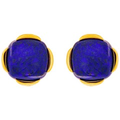 Valentin Magro Lapis Lazuli Cushion Cabochon Earrings