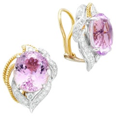 18 Karat Yellow Gold Oval 12.60 Carat Kunzite with Diamonds Clip-On Earrings