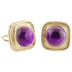 18K Yellow Gold 30.00ctw Cabochon Amethyst Square Frame Earrings